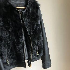 zara fauxfur leather zipup jacket 100% lamskin